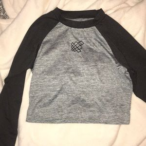 Two tone grey athletic crop top